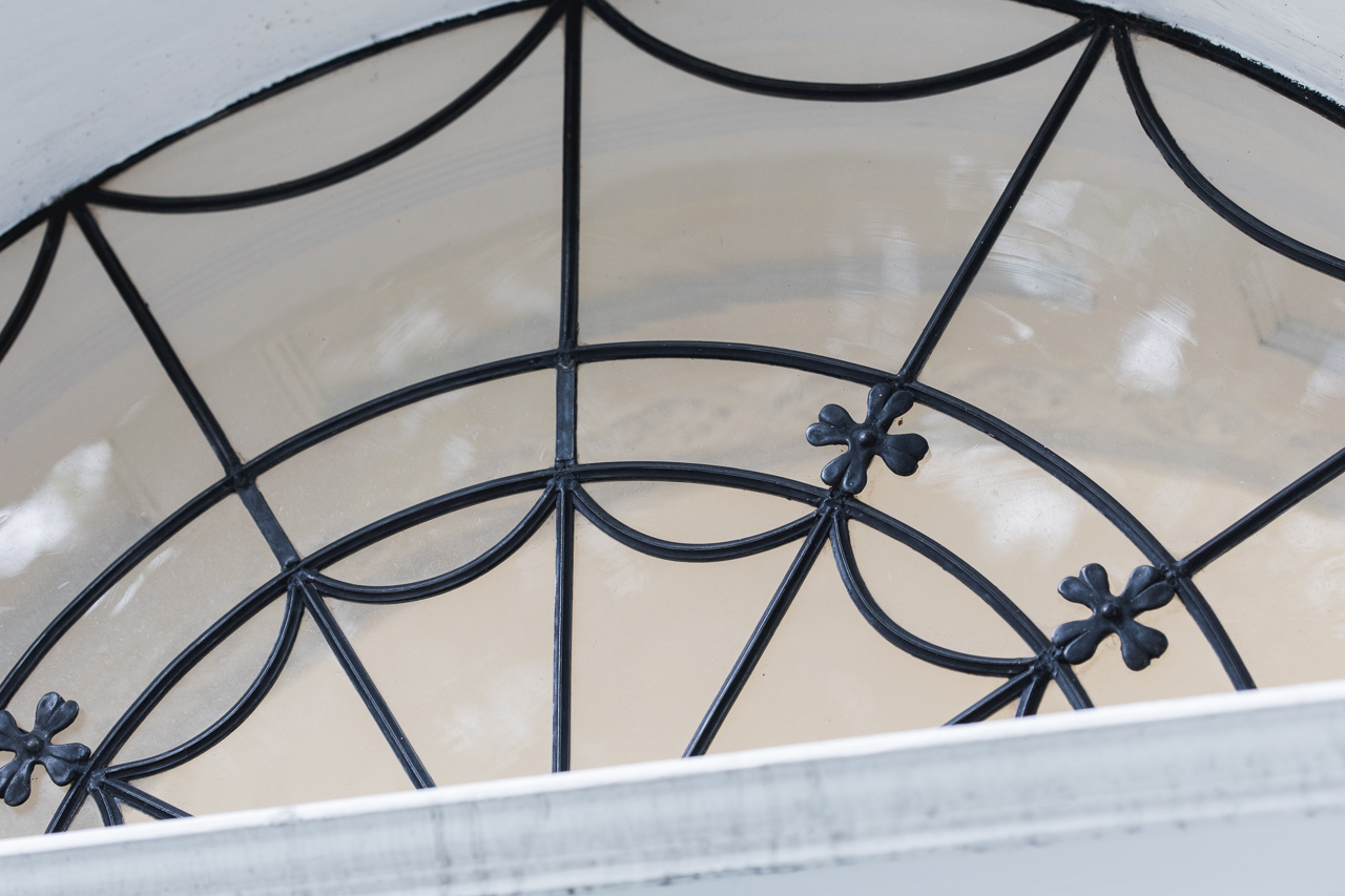 Glass above doorway